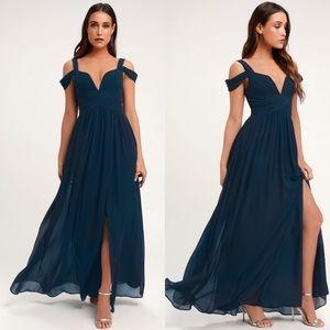 NWT Lulus Elegant Navy Blue Maxi Dress